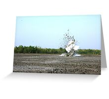 Mud volcanoe splashing with high speed in bledug kuwu, Grobogan, Indonesia Greeting Card