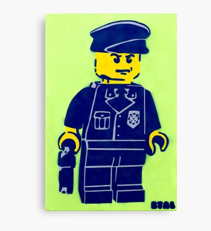 Lego Cop, Street Art, Spray Paint Stencil Canvas Print