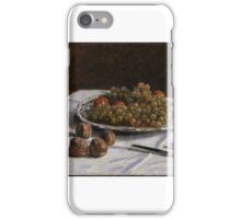 Grapes and Walnuts on a Table, Alfred Sisley (British (active in France), iPhone Case/Skin