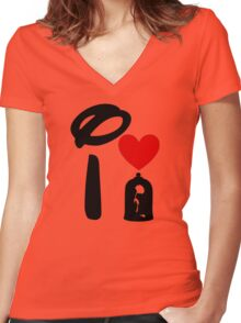 I Heart Beauty and The Beast Women's Fitted V-Neck T-Shirt