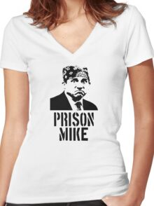 Prison Mike - The Office Women's Fitted V-Neck T-Shirt