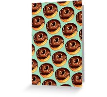 Chocolate Donut Pattern - Teal Greeting Card