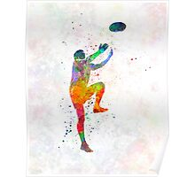 Rugby man player 05 in watercolor Poster