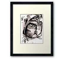 Black ink cat Framed Print
