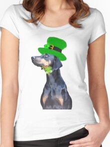 Saint Patrick's Day Pooch Women's Fitted Scoop T-Shirt