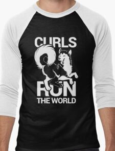 CURLS RUN THE WORLD Men's Baseball ¾ T-Shirt