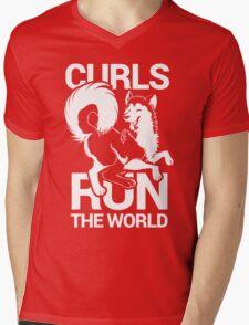 CURLS RUN THE WORLD Mens V-Neck T-Shirt
