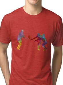Rugby men players 02 in watercolor Tri-blend T-Shirt