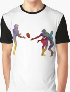 Rugby men players 02 in watercolor Graphic T-Shirt