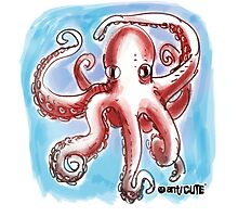 confused octopus cartoon style illustration Photographic Print