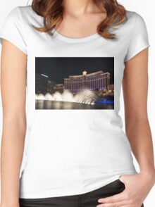 Midnight Dance - Silky Bellagio Fountains at Night Women's Fitted Scoop T-Shirt