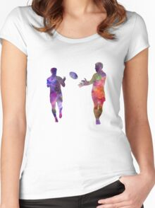 Rugby men players 04 in watercolor Women's Fitted Scoop T-Shirt