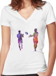 Rugby men players 04 in watercolor Women's Fitted V-Neck T-Shirt