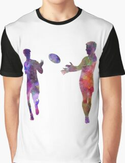 Rugby men players 04 in watercolor Graphic T-Shirt