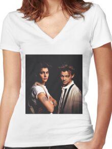 Leonardo DiCaprio and Johnny Depp Women's Fitted V-Neck T-Shirt