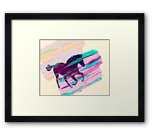 Horse Paintbrush watercolor Rainbow Collage Framed Print