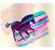 Horse Paintbrush watercolor Rainbow Collage Poster