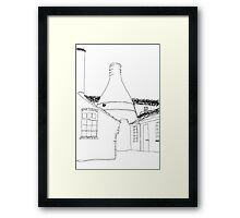 line drawn bottle kiln  Framed Print