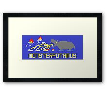 Monsterpotamus Pixel Framed Print