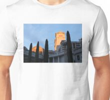 Shadow and Light - Las Vegas Sunrise with Caesars Palace and Cypress Trees Unisex T-Shirt