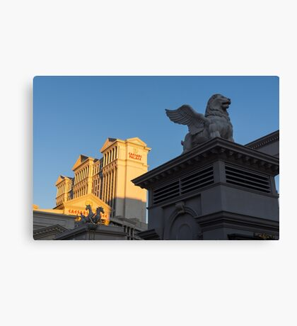 Shadow and Light - Las Vegas Sunrise with a Winged Lion at Caesars Palace Canvas Print