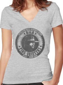 High Ping Drifters Black Women's Fitted V-Neck T-Shirt