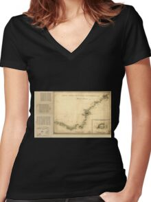American Revolutionary War Era Maps 1750-1786 873 Sketch of Haddonfield Sketch of the road from Penny Hill to Black Horse through Mount Holly 1778 Women's Fitted V-Neck T-Shirt