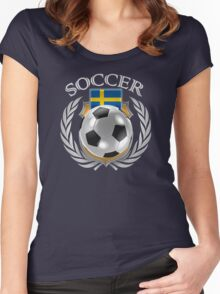 Sweden Soccer 2016 Fan Gear Women's Fitted Scoop T-Shirt