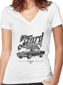 Ford Mustang 1967 Women's Fitted V-Neck T-Shirt
