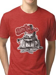 wild white dog and broken chain on his mouth Tri-blend T-Shirt