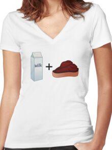 Milk Steak Women's Fitted V-Neck T-Shirt
