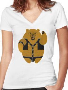 LEATHER LOVIN BEAR! Women's Fitted V-Neck T-Shirt
