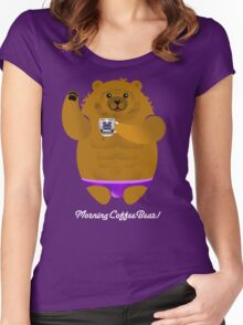 MORNING COFFEE BEAR! Women's Fitted Scoop T-Shirt