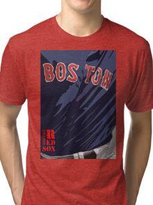 Boston Red Sox Original Typography Blue shirt Tri-blend T-Shirt