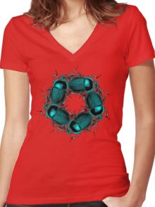 EGYPTIAN SCARAB Women's Fitted V-Neck T-Shirt