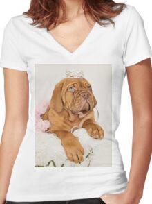 Dogue De Bordeaux Princess Puppy Women's Fitted V-Neck T-Shirt