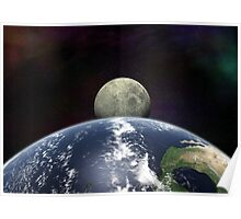 Moon Rise From Space Poster