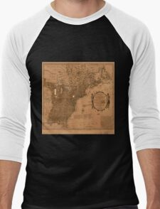 American Revolutionary War Era Maps 1750-1786 350 Bowles's new pocket map of the United States of America the British possessions of Canada Nova Scotia and Men's Baseball ¾ T-Shirt