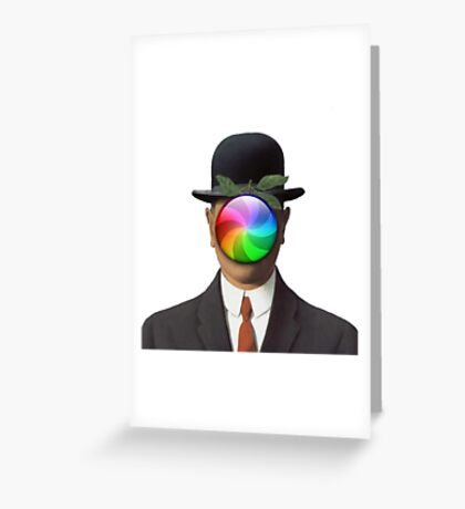 the son of a man magritte surrealism 1900, Apple Greeting Card