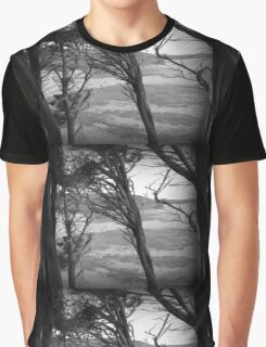 Through The Windswept Trees - Black and White Landscape Graphic T-Shirt