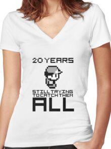 Pokemon 20 Years Anniversary Women's Fitted V-Neck T-Shirt