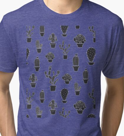 Pattern - Cactuses in the pots Tri-blend T-Shirt