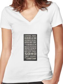 New York City Subway Stops Vintage Women's Fitted V-Neck T-Shirt
