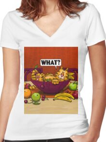 WHAT CAT in fruit bowl Women's Fitted V-Neck T-Shirt