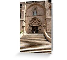 Stairs to the church - Chaise-Dieu (France) Greeting Card
