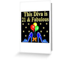 21 AND FABULOUS BLUE SHOE LOVER Greeting Card