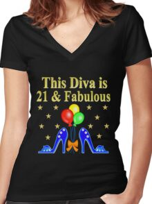 21 AND FABULOUS BLUE SHOE LOVER Women's Fitted V-Neck T-Shirt