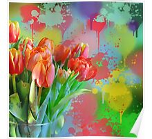 Colourful Painterly tulips on an abstract background. Poster