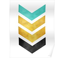 green gold and black chevron Poster