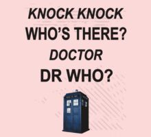 knock knock dr who for light colored shirts Kids Tee